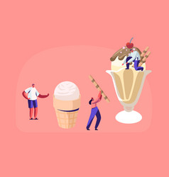 Tiny characters decorate ice cream with sweets and vector
