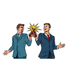 two businessman cheers bottles beer for success vector image