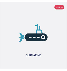 Two color submarine icon from nautical concept vector