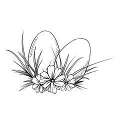 two easter eggs in sketch style vector image