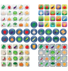Vegetable icons in various styles vector image vector image