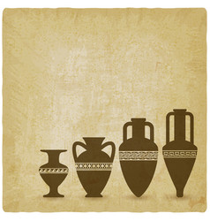 vintage background with ancient greek vases vector image