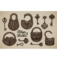 Vintage Keys and Locks Hand-drawn collection of vector