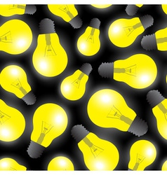Yellow light bulbs - light source seamless pattern vector