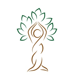 Yoga emblem with abstract tree pose isolated vector