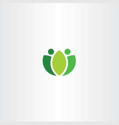 abstract logo green people fresh bio symbol vector image vector image