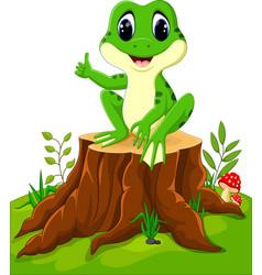 cartoon funny frog sitting on tree stump vector image vector image