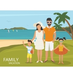 Happy family vacations flat design vector image vector image