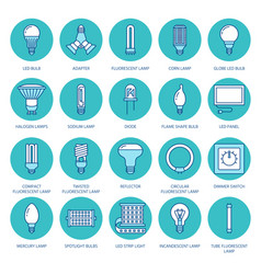 Light bulbs colored flat line icons led lamps vector