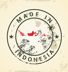 Stamp with map flag of Indonesia vector image