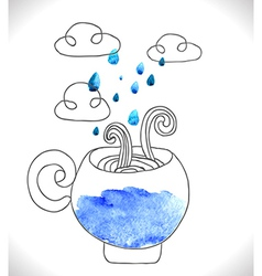 tea cup with clouds and rain vector image vector image