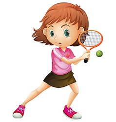 A young girl playing tennis vector image vector image