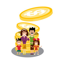 family with dollar coins happy people with money vector image