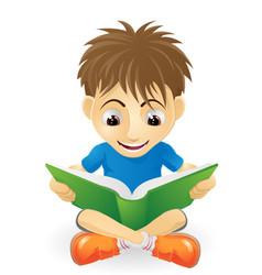 happy young boy reading vector image