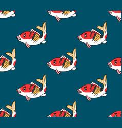 colorful carp on indigo blue background vector image vector image