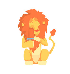cute cartoon lion combing its mane colorful vector image vector image