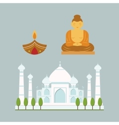 India landmark travel icons collection vector image vector image