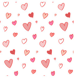 lovely seamless pattern with hand drawn hearts vector image
