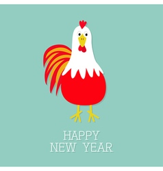 Red Rooster Cock bird 2017 Happy New Year symbol vector image