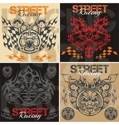 Retro street racing set vector image