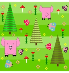 Seamless green background with a pattern of funny vector image vector image