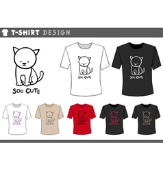 T shirt design with cute cat vector