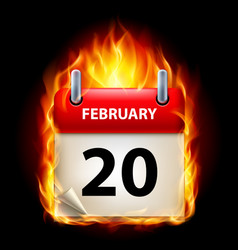 twentieth february in calendar burning icon on vector image vector image