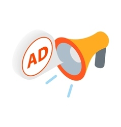 Advertisement megaphone icon in isometric 3d style vector image vector image