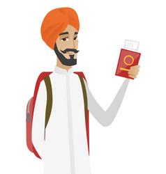hindu man traveler holding passport with ticket vector image vector image