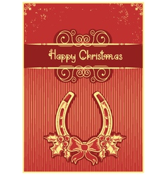 Horseshoe on red christmas background with holly vector image vector image