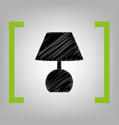 lamp sign black scribble vector image vector image