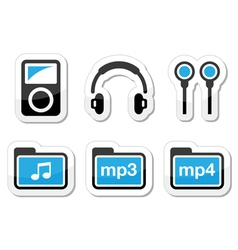 Mp3 player icons set vector image