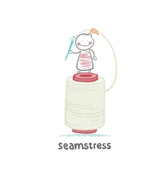 seamstress stands on a large skein of thread and vector image vector image