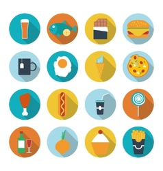 Set of flat design icons for food and drink vector image