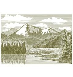 Woodcut Mountain River vector image