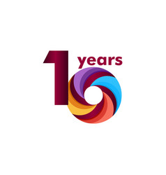 10 year anniversary colorful template design vector