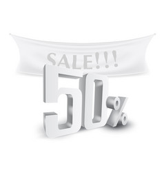 50 percent off silver sale text discount template vector image