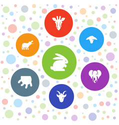 7 mammal icons vector