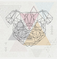 Abstract polygonal tirangle animal pug-dog vector