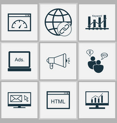 Advertising icons set with connectivity media vector