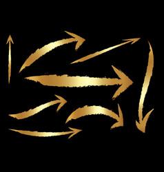 arrow set gold curve line up button icon vector image