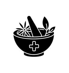 Ayurveda black glyph icon vector