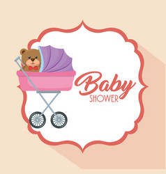 baby shower card with bear teddy in cart vector image
