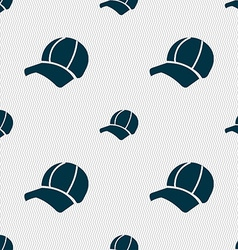 Ball cap icon sign Seamless pattern with geometric vector