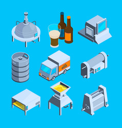 Beer production isometric tools brewery vector