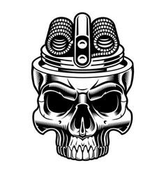 Black and white of vape skull vector