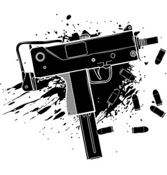 Black silhouette army uzi weapon with bullets vector