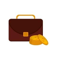 Briefcase and money coin icon vector