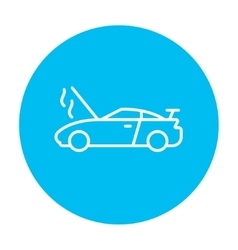 Broken car with open hood line icon vector image