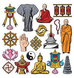 buddhism religion isolated symbols vector image